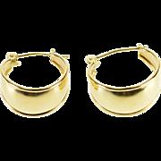 14K Curved Grooved Trim Hoop Earrings Yellow Gold