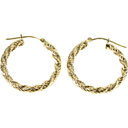 14K Rope Twist Hollow Hoop Earrings Yellow Gold