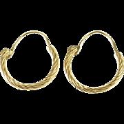 14K Twist Textured Rope Hollow Hoop Earrings Yellow Gold