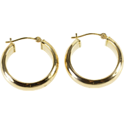 14K Rounded Hollow Hoop Earrings Yellow Gold