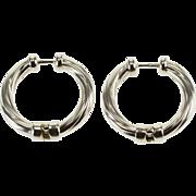 14K Twist Grooved Hinged Hoop Earrings White Gold