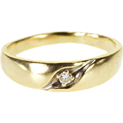 14K Diamond Inset Grooved Men's Wedding Band Ring Size 9.75 Yellow Gold