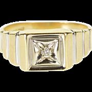10K Diamond Square Two-Tone Men's Wedding Ring Size 10.75 Yellow Gold