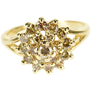 14K Diamond Encrusted Tiered Round Halo Prong Set Ring Size 6 Yellow Gold