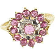 14K Ruby Diamond Accented Round Halo Tiered Ring Size 5 Yellow Gold