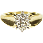 10K Diamond Encrusted Pointed Clustered Ring Size 7 Yellow Gold