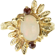 14K Opal Garnet Textured Leaf Semi-Halo Burst Ring Size 5.75 Yellow Gold