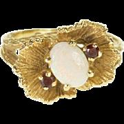14K Opal Garnet Accent Leaf Motif Textured Ring Size 6.25 Yellow Gold