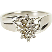 10K Diamond Starburst Pointed Cluster Textured Bypass Ring Size 7 White Gold