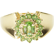 14K Peridot Encrusted Halo Oval Graduated Band Ring Size 7 Yellow Gold