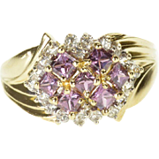 10K Princess Amethyst Cubic Zirconia Encrusted Ring Size 8 Yellow Gold
