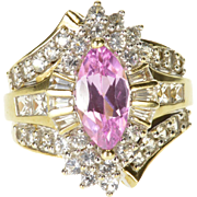 14K Pink Topaz Cubic Zirconia Encrusted Fancy Ring Size 7 Yellow Gold