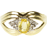 14K Citrine Diamond Accented Oval Scalloped Grooved Ring Size 8 Yellow Gold