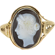 14K Carved Onyx Cameo Oval Scroll Filigree Ornate Ring Size 5 Yellow Gold