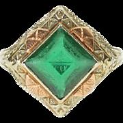 10K Art Deco Square Two Tone Filigree Emerald* Ring Size 5.25 White Gold
