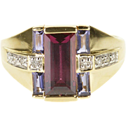 14K Amethyst Diamond Pink Tourmaline Tiered Design Ring Size 7 Yellow Gold