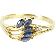 14K Sapphire Diamond Marquise Tiered Leaf Motif Ring Size 6.75 Yellow Gold