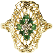 10K Emerald Diamond Floral Filigree Pointed Halo Ring Size 3.75 Yellow Gold