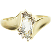 10K Cubic Zirconia Marquise Accented Wavy Bypass Ring Size 7 Yellow Gold