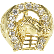 14K Horse Cubic Zirconia Horseshoe Mens' Equine Ring Size 10.75 Yellow Gold