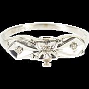 14K Diamond Three Stone Retro Wedding Band Ring Size 5.25 White Gold