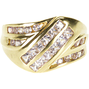 14K Pink Cubic Zirconia Princess Channel Inlay Wavy Ring Size 7 Yellow Gold