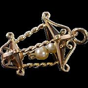 14K Vintage 3D Pearl Bead Street Lamp Charm/Pendant Yellow Gold