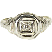 18K Art Deco 0.12 Ct European Diamond Engagement Ring Size 5.25 White Gold