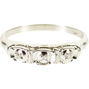 14K Retro Three Stone Diamond Milgrain Wedding Band Ring Size 6.5 White Gold