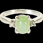 14K Star Sapphire* Diamond Three Stone Cabochon Ring Size 5.25 White Gold