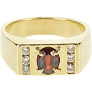 14K 1.30 Ctw Garnet Diamond Oval Channel Squared Ring Size 10.25 Yellow Gold