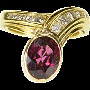 18K 3.33 Ctw Garnet Diamond Bezel Ornate Bypass Ring Size 6.25 Yellow Gold
