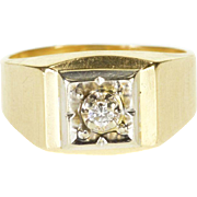 10K Diamond Inset Grooved Squared Men's Wedding Ring Size 9.75 Yellow Gold