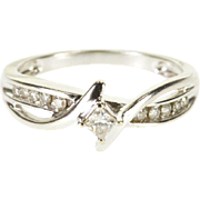 10K 0.22 Ctw Diamond Channel Bypass Engagement Ring Size 6 White Gold
