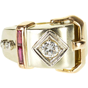 14K 1940's 0.57 Ctw Diamond Ruby Buckle Belt Ring Size 3.75 Yellow Gold