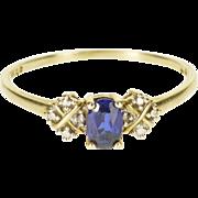 10K 0.41 CTW Sapphire Diamond Engagement Ring Size 11 White Gold [QPQQ]