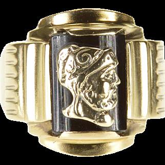 10K Sailor Warrior Overlay Black Onyx Inset Men's Ring Size 8.25 Yellow Gold [QPQQ]