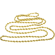 "14K 3.1mm Thick Rolling Twist Rope Necklace Necklace 30"" Yellow Gold  [QPQQ]"