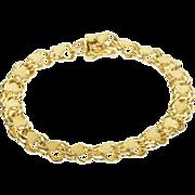 "14K Heavy Link Heart Charm Bracelet 7"" Yellow Gold  [QPQQ]"