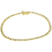 "10K 0.12 Ctw Diamond Inset Round Link Tennis Bracelet 7.25"" Yellow Gold  [QPQQ]"