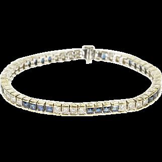 "18K 5.52 Ctw Diamond Sapphire Inset Ornate Tennis Bracelet 7.1"" White Gold  [QPQQ]"