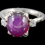 14K 6.24 Ctw Cabochon Star Ruby Diamond Ring Size 6.5 White Gold