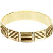 14K Two Tone Grooved Textured Men's Wedding Band Ring Size 11 Yellow Gold