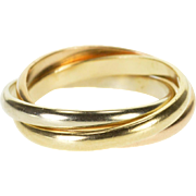 14K Tri Tone Three Band Rounded Rolling Band Ring Size 6 Yellow Gold