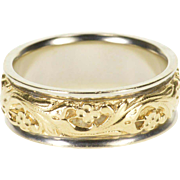 14K Ornate Carved Scroll Floral Vine Men's Wedding Ring Size 10 Yellow Gold