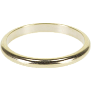 14K Rounded Simple Wedding Band Ring Size 6 White Gold