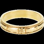 14K Geometric Floral Pattern Milgrain Wedding Band Ring Size 9.5 Yellow Gold
