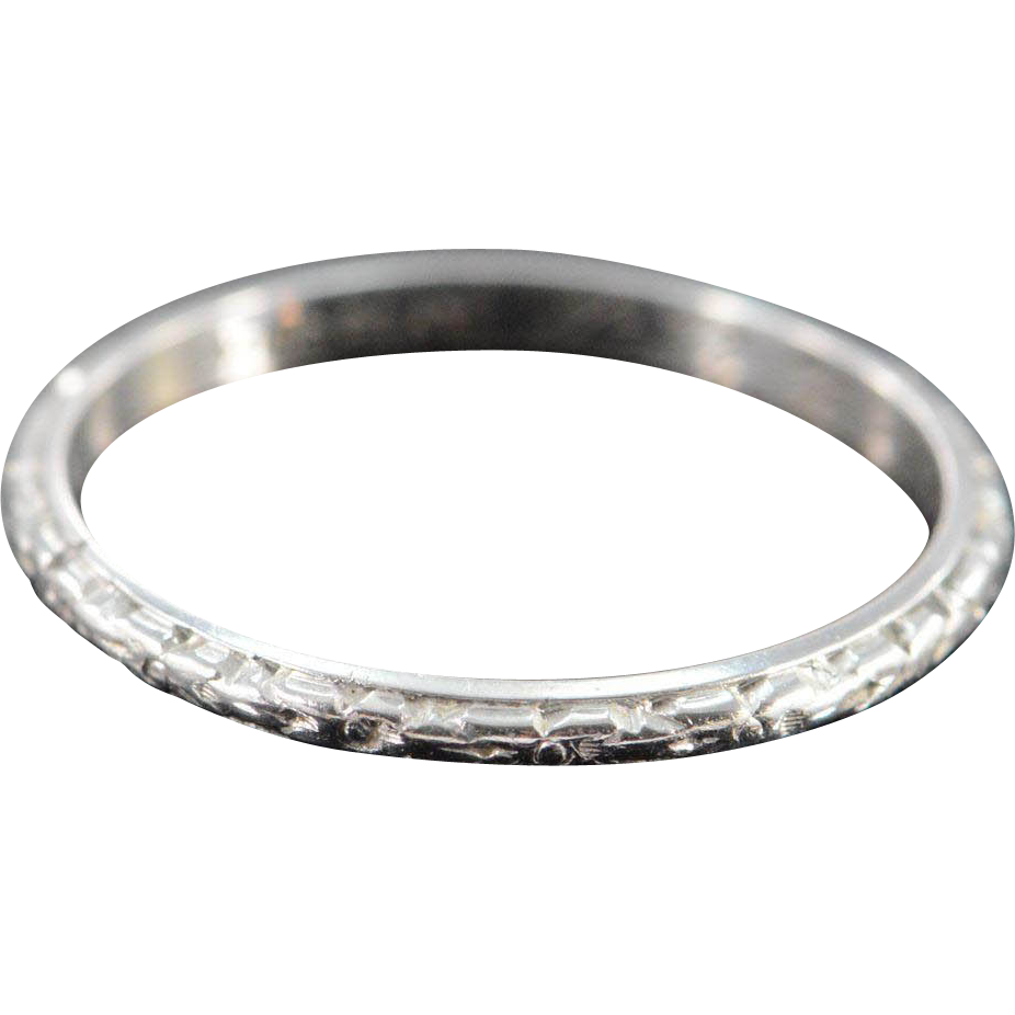 Platinum Antique 2mm Engraved Wedding Band engraved wedding bands Platinum Antique 2mm Engraved Wedding Band Ring Size 6 Engraved