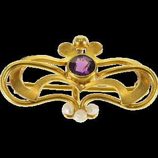 14K Victorian Amethyst* Seed Pearl Watch Hanger Pendant/Pin Yellow Gold  [QPQQ]