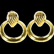 14K Ridged Loop Tear Drop Door Knocker Earrings Yellow Gold